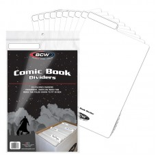 Pack of 25 BCW White Plastic Comic Book Dividers with Folding Write On Tab
