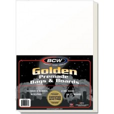 Pack of 50 BCW Premade Golden Age Comic Book Archival Poly Bags + Backer Boards
