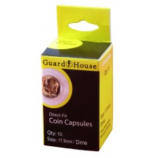 Pack of 10 Guardhouse 17.9mm Dime Round Direct Fit Coin Capsules holders
