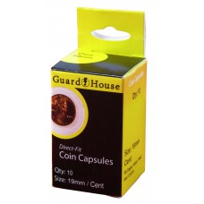 Pack of 10 Guardhouse 19mm Penny Cent Round Direct Fit Coin Capsules holders