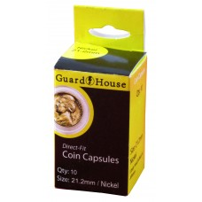 Pack of 10 Guardhouse 21.2mm Nickel Round Direct Fit Coin Capsules holders