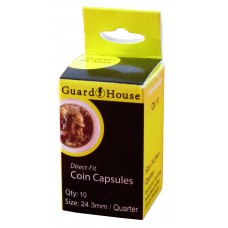 Pack of 10 Guardhouse 24.3mm Quarter Round Direct Fit Coin Capsules holders