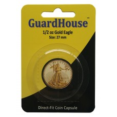 10 Pack Guardhouse 27mm 1/2 oz Gold Eagle Round Direct Fit Coin Capsules holders