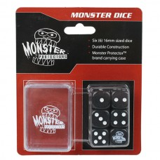 Pack of 6 Monster Protectors Black 16mm Six Sided Gaming Dice with Carrying Box