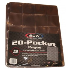 Pack of 20 BCW Vinyl 20-Pocket Coin Storage Album Pages