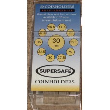 Pack of 50 SuperSafe 2x2 Self Adhesive 30mm Paper Coin Flips