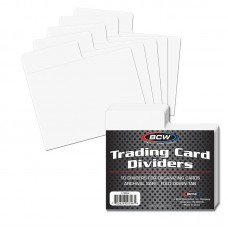 Pack of 10 BCW Horizontal White Plastic Trading Card Dividers with Fold Down Tab