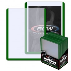 Pack of 25 BCW 3 X 4 Topload Card Holders - GREEN Border