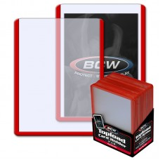 Pack of 25 BCW 3 X 4 Topload Card Holders - RED Border
