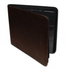BCW Z-Folio 12 Pocket LT Dark Brown Faux Leather Gaming Card Zippered Storage Album