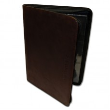 BCW Z-Folio 9 Pocket LT Dark Brown Faux Leather Gaming Card Zippered Storage Album