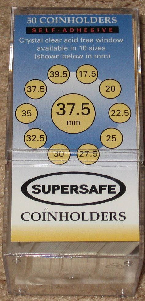 50 Supersafe 2x2 Self Adhesive 37.5mm Paper Coin Flips Cardboard Holders SALE